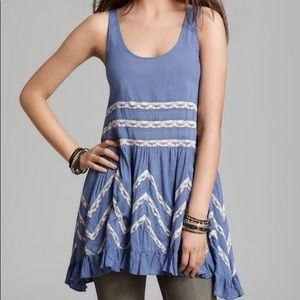 Free People Lace Trapeze Voile Slip Dress Blue